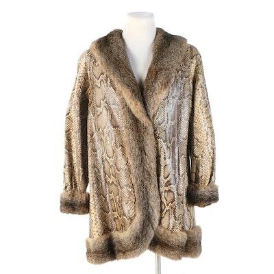Python Skin Jacket with Rabbit Fur Trim, 1970s Vintage