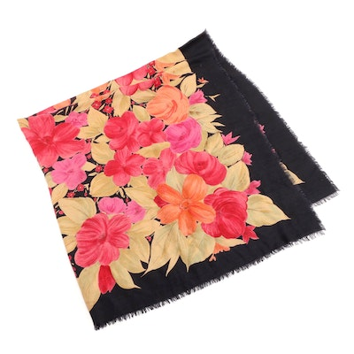 Loro Piana Floral Cashmere and Silk Eyelash Fringe Scarf