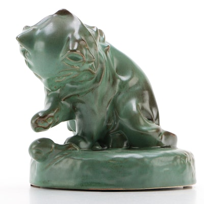 """HB Henriot """"Curious Cat and Snail"""" Pottery Figurine, Quimper, France"""