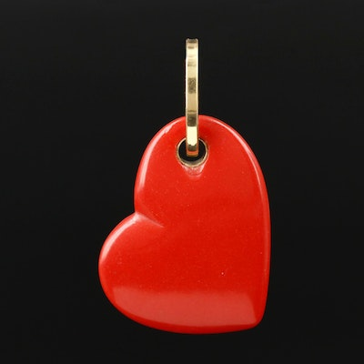 18K Yellow Gold Carved Resin Heart Pendant