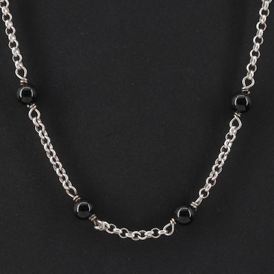 "David Yurman ""Cable Collectibles"" Sterling Silver Black Onyx Necklace"