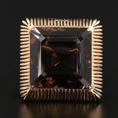 10K Yellow Gold 115.23 CT Smoky Quartz Converter Brooch