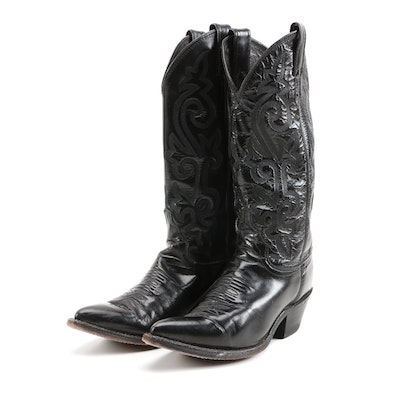Justin Black Leather Cowboy Boots