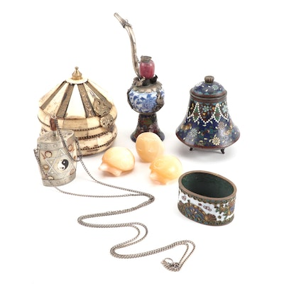 East Asian Snuff Bottle Necklace, Pipe, and Other Asian Decor