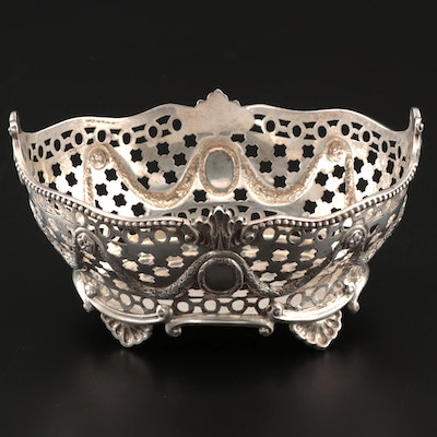 English Regency Style Pierced Sterling Bon Bon Basket, 19th Century