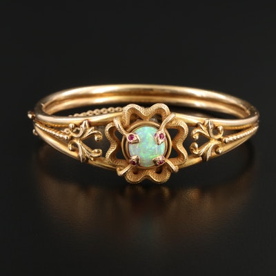 10K Yellow Gold Opal and Ruby Bracelet With 14K Snake Setting
