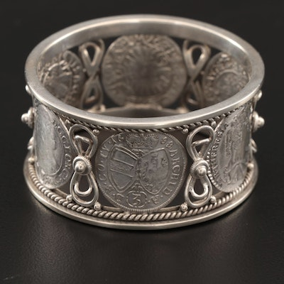800 Silver Napkin Ring with Continental Coin Restrikes