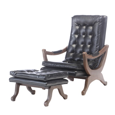 Mid Century Modern Vinyl Upholstered Lounge Chair with Ottoman