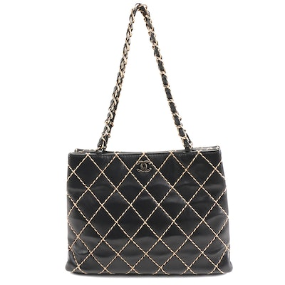 Chanel Wild Stitch CC Leather Tote in Black with Diamond Contrast Stitching