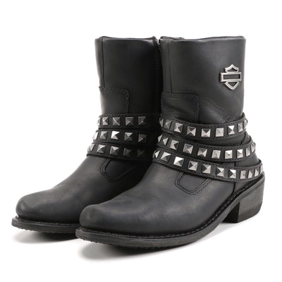 Women's Harley-Davidson Kellyn Black Leather Boots with Pyramid Studs