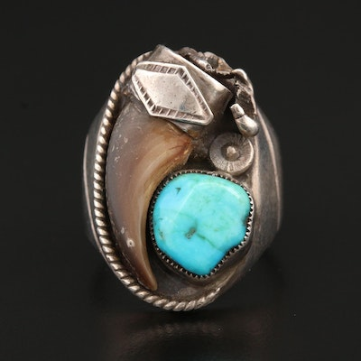 Southwestern Style Sterling Silver Sand Cast Turquoise and Bear Claw Ring