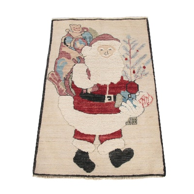 2'6 x 3'11 Hand-Knotted Afghan Santa Claus Wool Rug