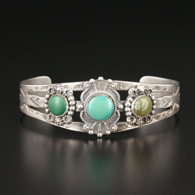 Southwestern Style Sterling Silver Turquoise Bracelet