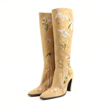 Fendi Bird and Foliate Embroidered Suede Tall Boots in Camel and Multicolor