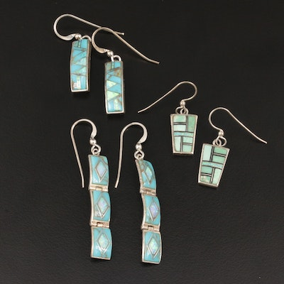 Sterling Silver Turquoise and Opal Inlay Earrings