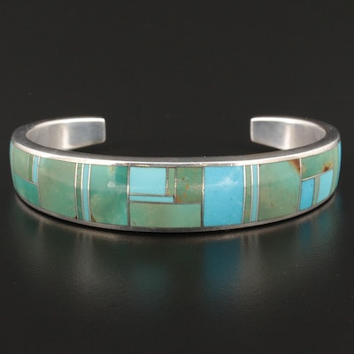 Signed Southwestern Style Chee Sterling Silver Turquoise Bracelet