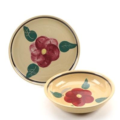 "Watt Pottery ""Rio Rose"" Ovenware Serving Platter and Bowl, Mid-20th Century"