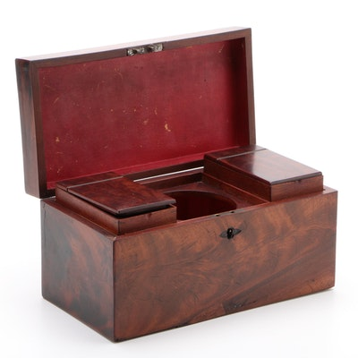 19th Century Victorian Mahogany English Tea Caddy, circa 1870s-1890s