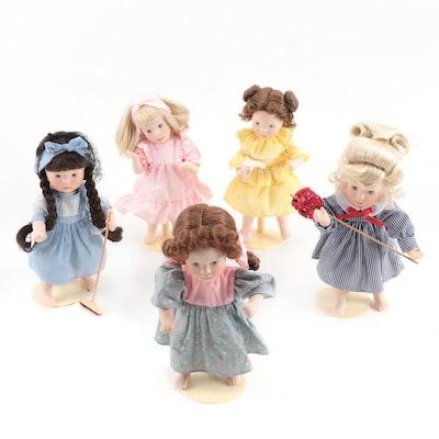 "Franklin Mint ""Days of the Week"" Series Heirloom Porcelain Dolls"