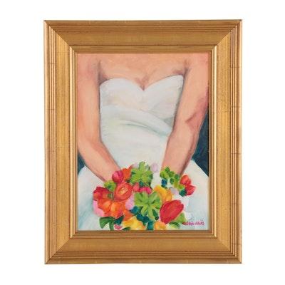 Debbie Davis Oil Painting of Woman Holding Bouquet