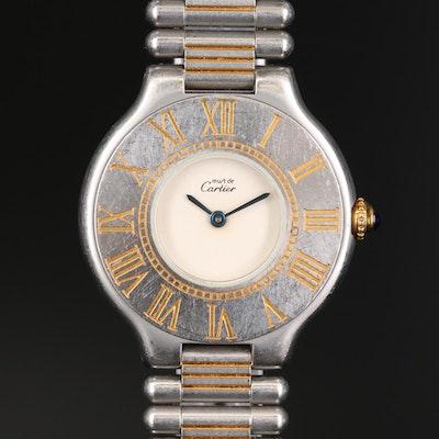 Cartier Must de Cartier 21 Two Tone Stainless Steel Quartz Wristwatch