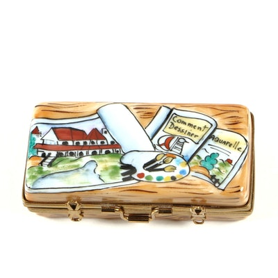 RMC Porcelain Watercolor Case Limoges Trinket Box, Contemporary
