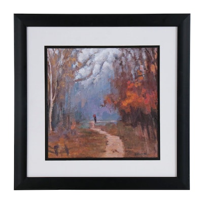 Landscape Oil Painting of Forest Path