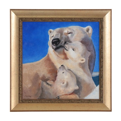 Marion Corbin Mayer Oil Painting of Polar Bear Mother with Cubs