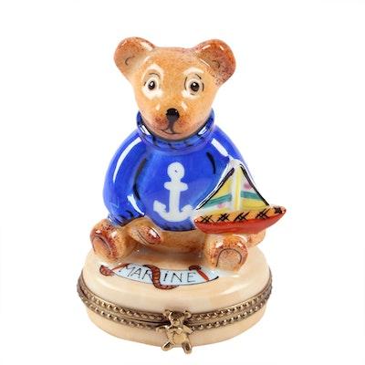 Rochard Limoges Marine Teddy Bear Porcelain Trinket Box, Contemporary