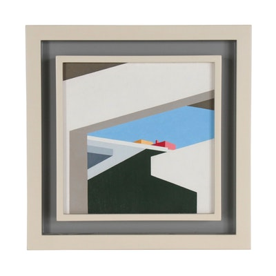 "Robert Herrmann Precisionist Oil Painting ""Cincinnati By-Pass"", Mid 20th Century"