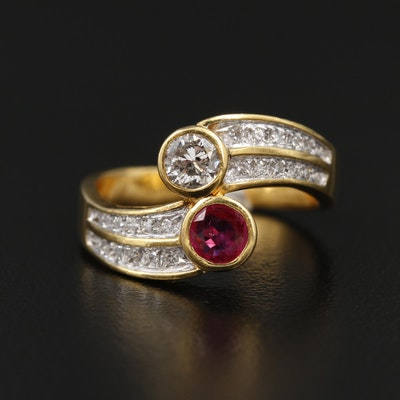 Vintage Soviet 18K Yellow Gold Diamond and Ruby Bypass Ring
