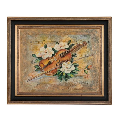 D.H. Song Still Life Mixed Media Painting of Violin and Flowers