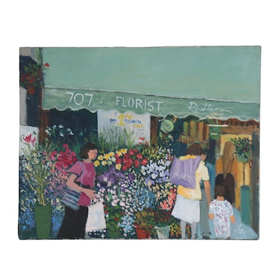 Acrylic Painting of Street Scene with Flower Shop
