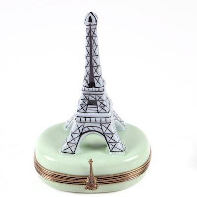Porcelain Eiffel Tower Limoges Trinket Box, Contemporary