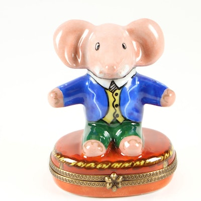 Chanille Porcelain Elephant Limoges Trinket Box, Late 20th/Early 21st Century