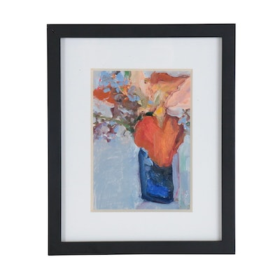 Carolyn Fesenheld Abstract Oil Painting on Plating Card