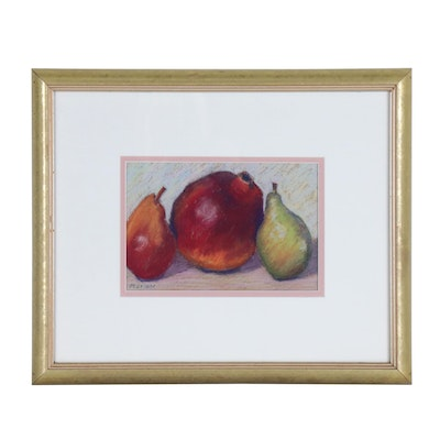 "Marion Corbin-Mayer Pastel Drawing ""Pomegranate & Pears"""