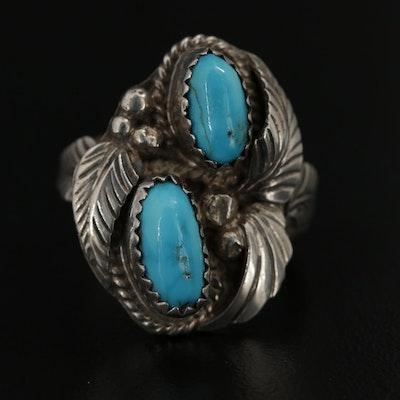 Justin Morris Navajo Diné, Southwestern Style Sterling Silver Turquoise Ring