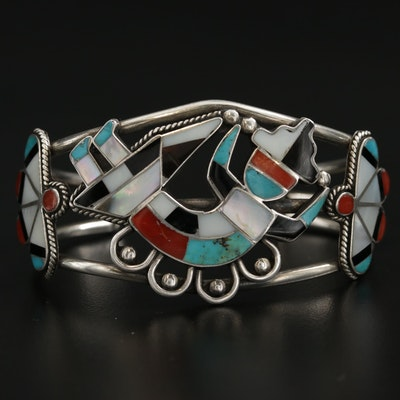 Southwestern Style Sterling Silver, Turquoise, Zuni Rainbow Man, Cuff Bracelet