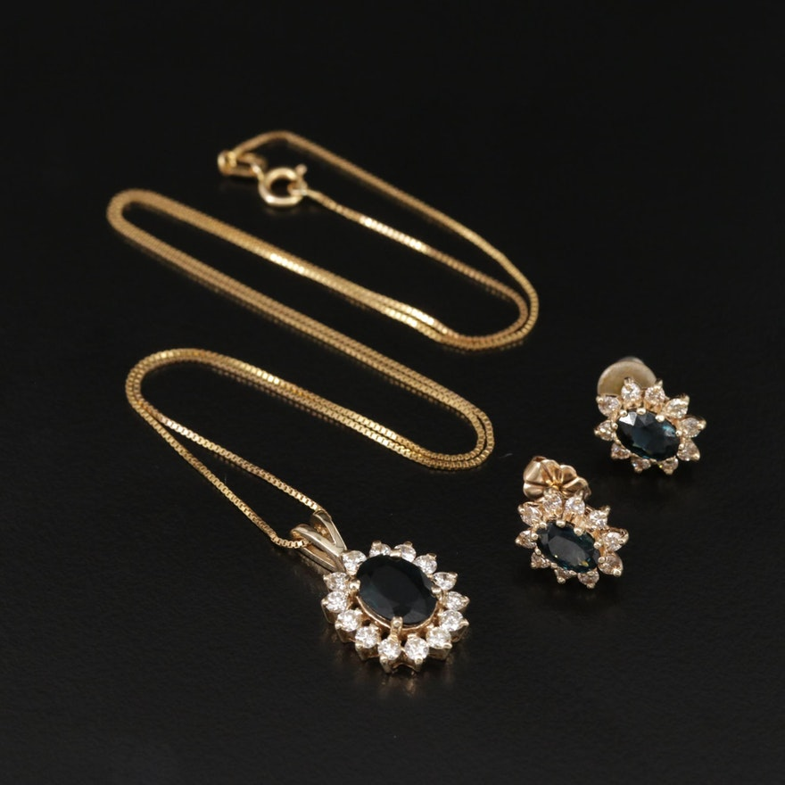 14K Gold Sapphire and Diamond Earring and Necklace Set