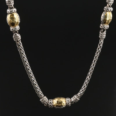 John Hardy Sterling Silver and 22K Yellow Gold Palu Station Necklace
