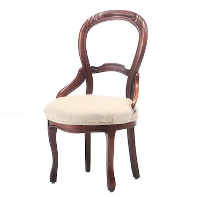 Victorian Walnut Upholstered Side Chair, 19th Century