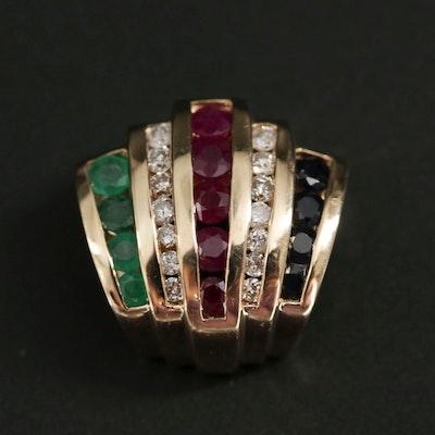 14K Yellow Gold, Emerald, Ruby, Sapphire and Diamond Enhancer Slide Pendant
