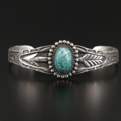 Southwestern Style Sterling Silver Turquoise Cuff Bracelet With Arrow Stampwork