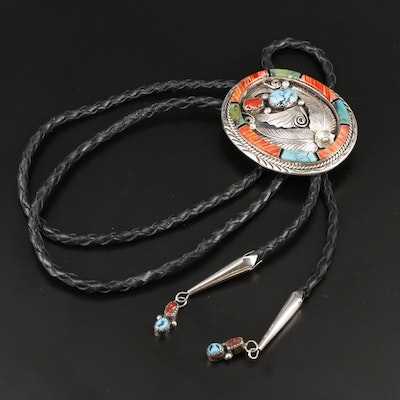 Southwestern Style Sterling Silver Turquoise, Coral, and Spiny Oyster Bolo Tie