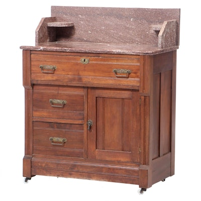 Victorian Walnut and Rouge Marble Washstand, Late 19th Century