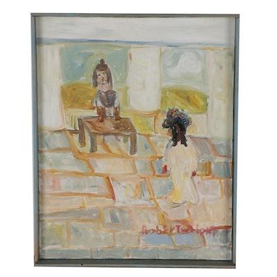 Robert Wright Acrylic Painting of Interior Scene