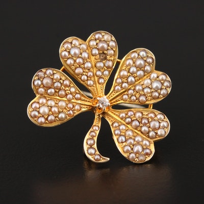 14K Yellow Gold Diamond and Cultured Pearl Shamrock Converter Brooch