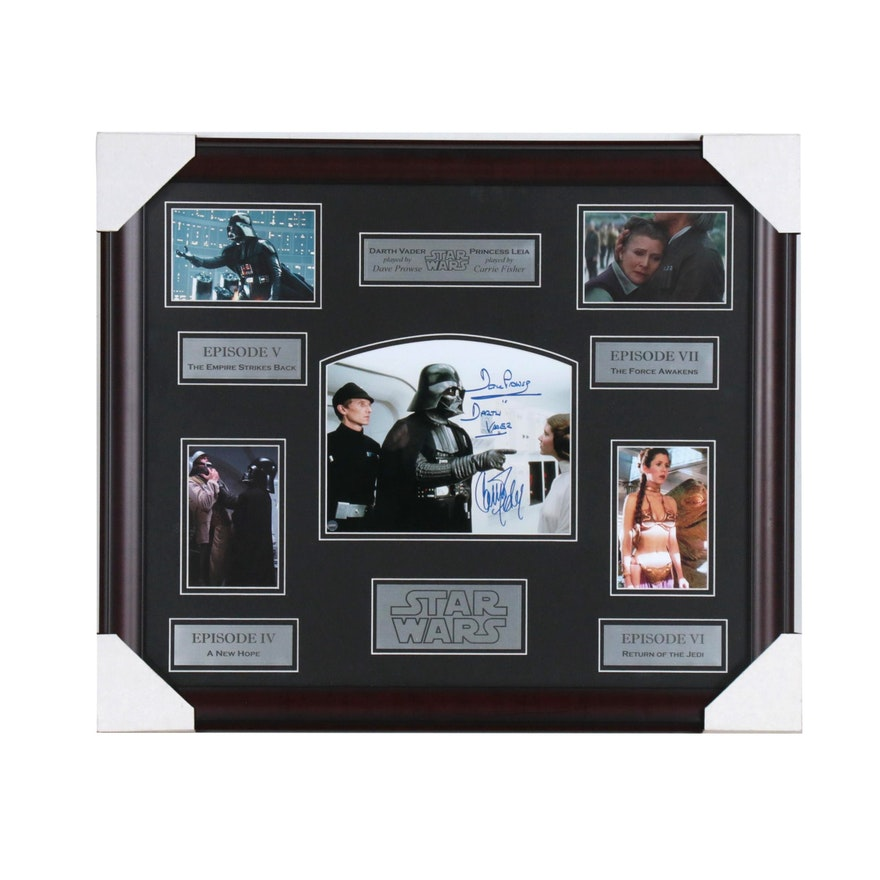 "Framed Carrie Fisher and David Prowse Signed ""Star Wars"" Display  COA"