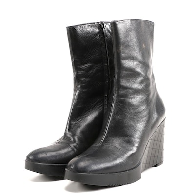 Robert Clergerie Black Leather Wedge Boots